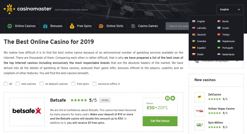 Find your casino in many languages at Casino Master