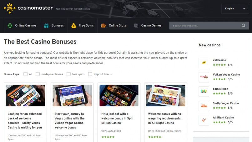 Updated casino bonuses on CasinoMaster.com